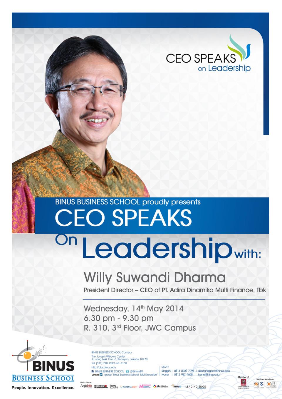 CEO SPEAKS ON LEADERSHIP WITH PT Adira Dinamika Multi Finance, Tbk