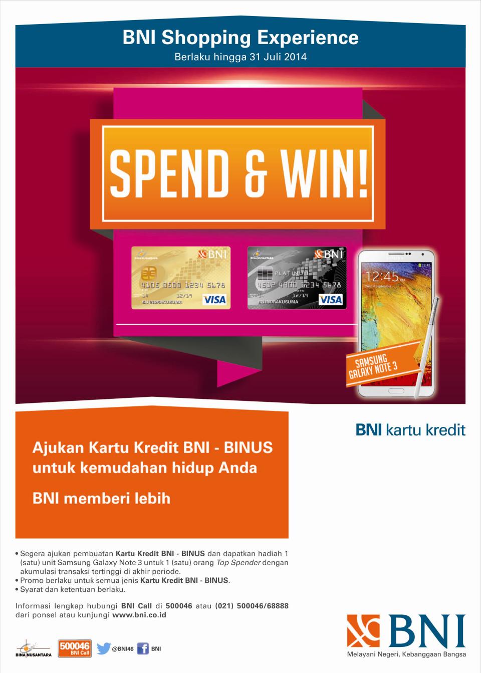 SPEND & WIN! WITH BNI - BINUS CREDIT CARD