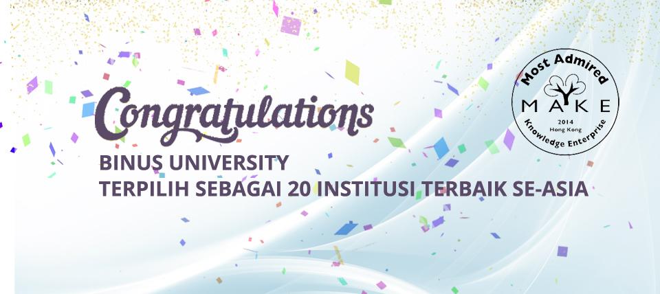 BINUS UNIVERSITY Terpilih Sebagai 20 Institusi Terbaik Se-Asia