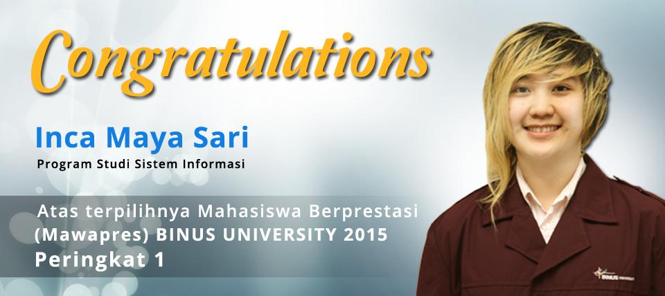 Mahasiswa BINUS UNIVERSITY Melaju ke MAWAPRES 2015  Tingkat Nasional