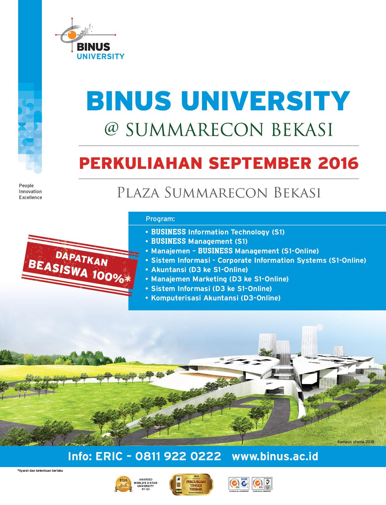 BINUS UNIVERSITY Hadir di Summarecon Bekasi