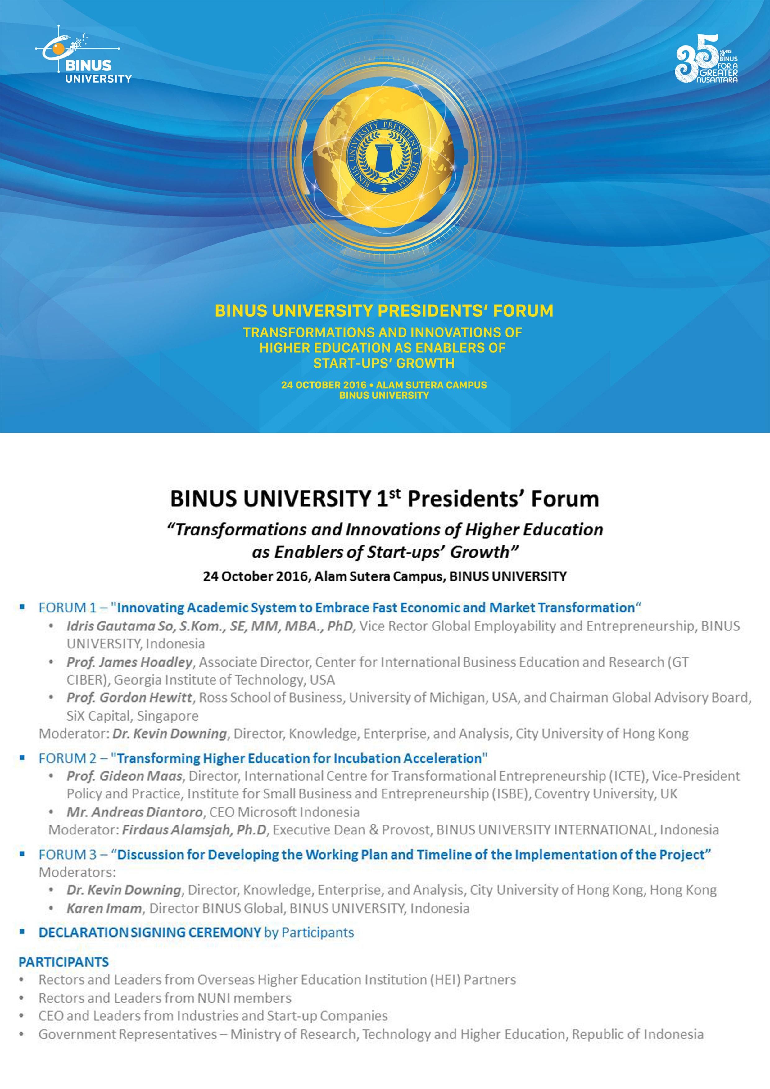 BINUS UNIVERSITY 1st Presidents' Forum