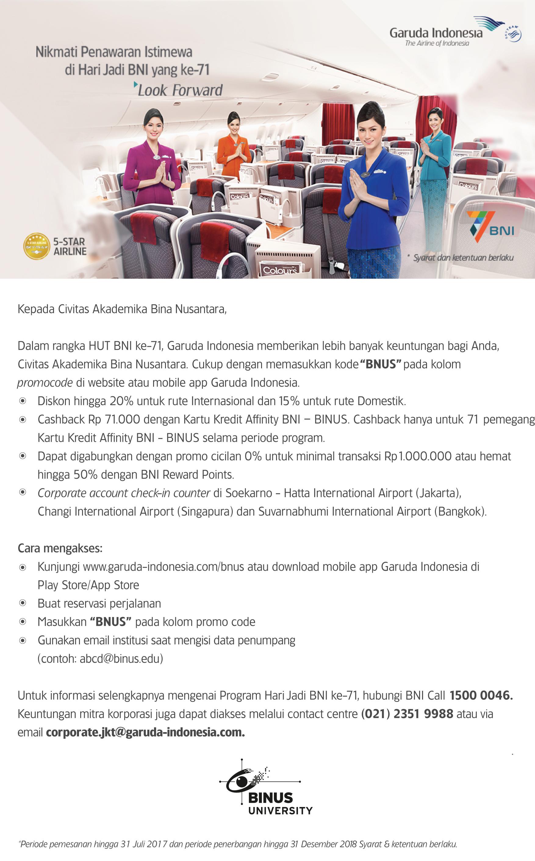 BINA NUSANTARA CIVITAS AKADEMIKA BENEFIT DENGAN GARUDA INDONESIA