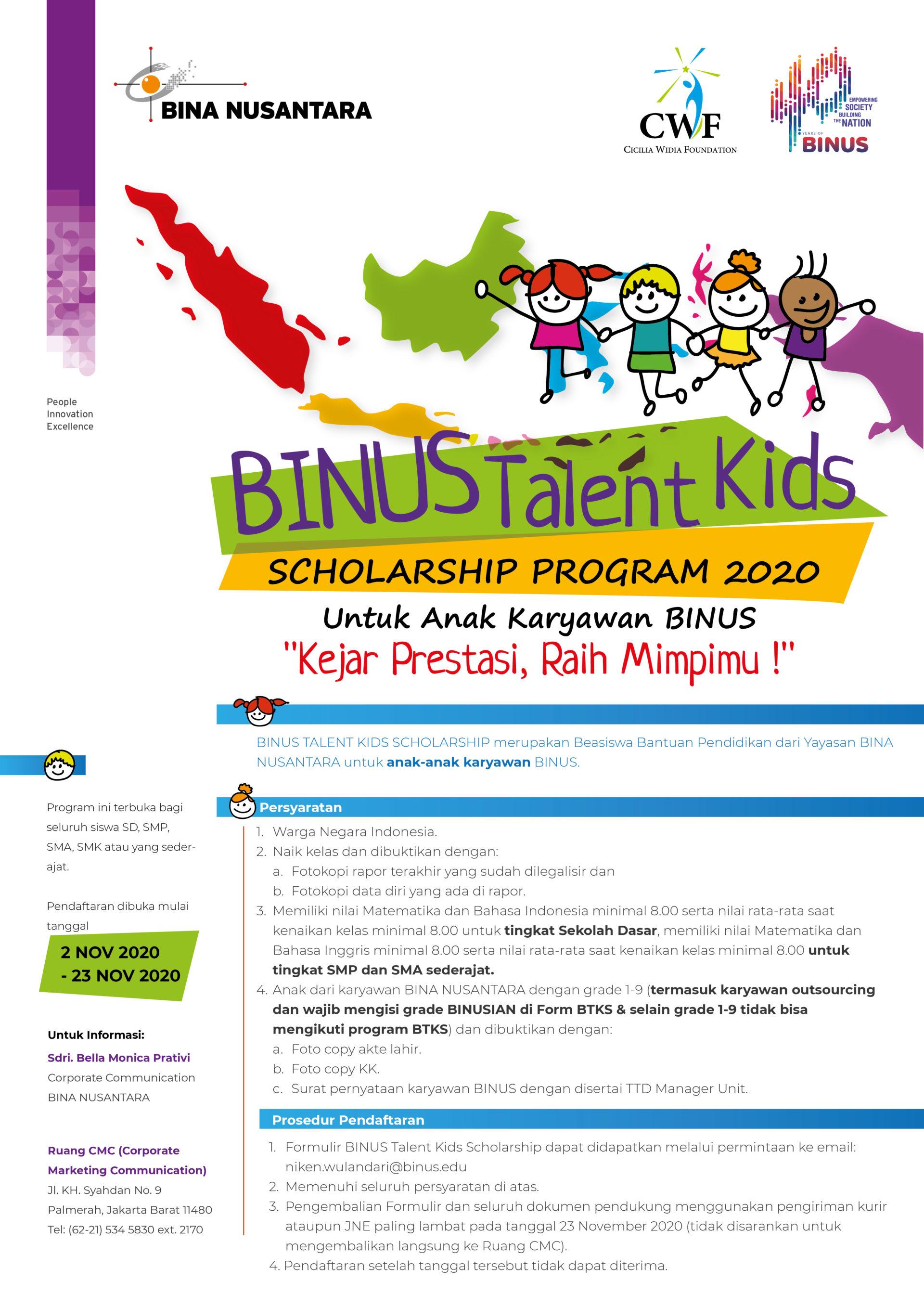 BINUS Talent Kids Scholarship 2020